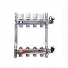 Коллектор отопления с вентилями UNI-FITT на 13 выходов (нержавеющая сталь)