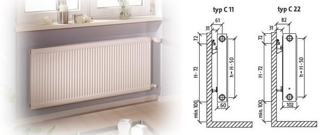 Чертежи стальных панельных радиаторов Purmo c боковым подключением