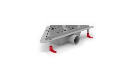 Угловой трап для душа с решеткой DROPS (комбинированный сифон, боковой слив)